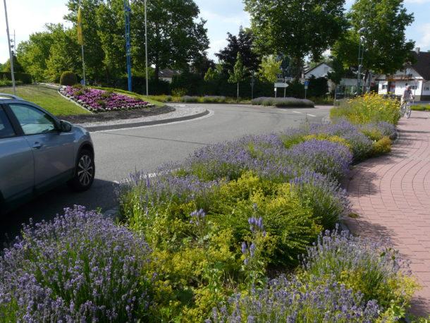 Vielfältiges Straßen-Begleitgrün neben herkömmlicher Kreisverkehrbepflanzung Foto Klatt